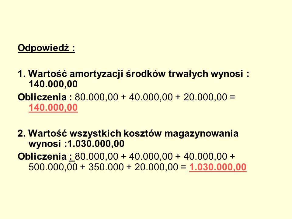 Odpowiedź : 1. Wartość amortyzacji środków trwałych wynosi : 140.000,00. Obliczenia : 80.000,00 + 40.000,00 + 20.000,00 = 140.000,00.