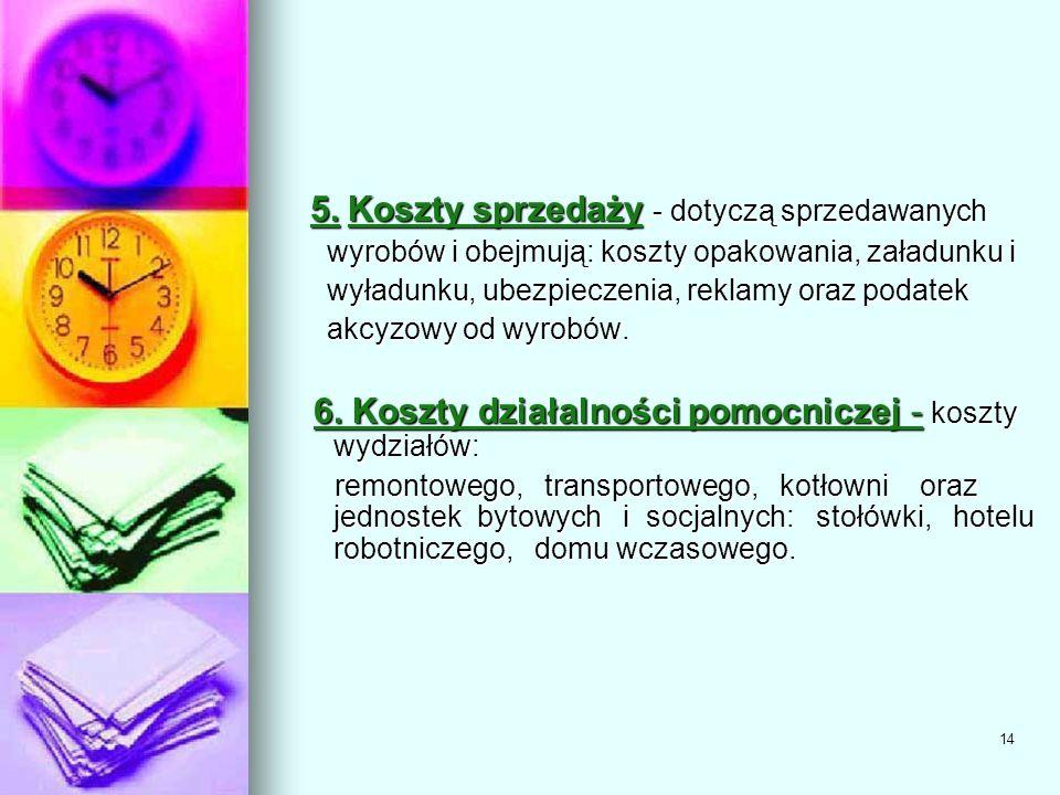 6. Koszty działalności pomocniczej - koszty wydziałów: