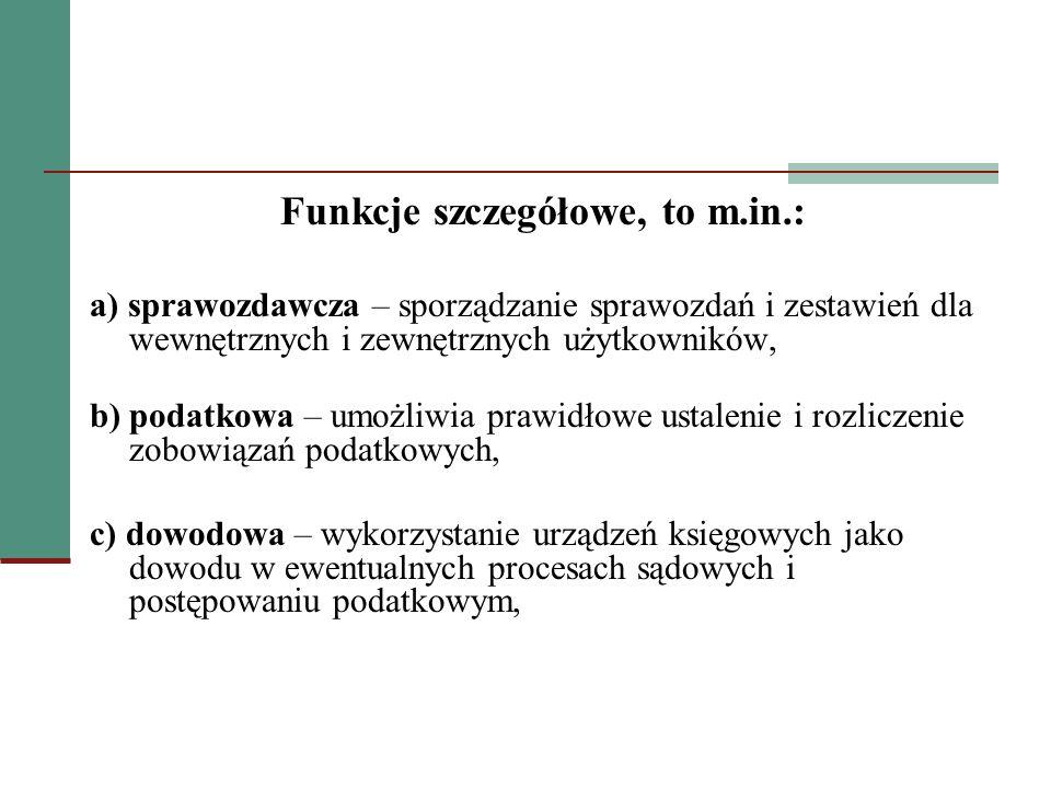 Funkcje szczegółowe, to m.in.: