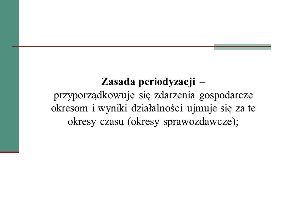 Zasada periodyzacji – przyporządkowuje się zdarzenia gospodarcze okresom i wyniki działalności ujmuje się za te okresy czasu (okresy sprawozdawcze);