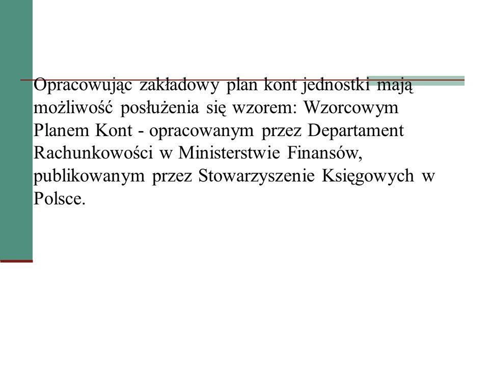 Opracowując zakładowy plan kont jednostki mają możliwość posłużenia się wzorem: Wzorcowym Planem Kont - opracowanym przez Departament Rachunkowości w Ministerstwie Finansów, publikowanym przez Stowarzyszenie Księgowych w Polsce.