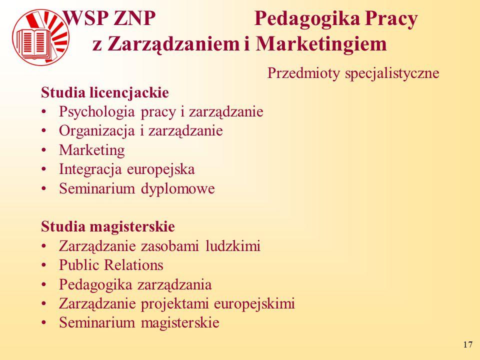 WSP ZNP Pedagogika Pracy z Zarządzaniem i Marketingiem