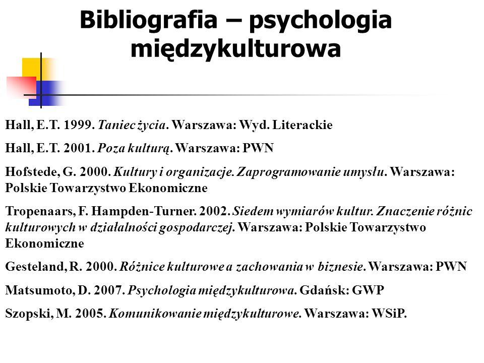 Bibliografia – psychologia międzykulturowa
