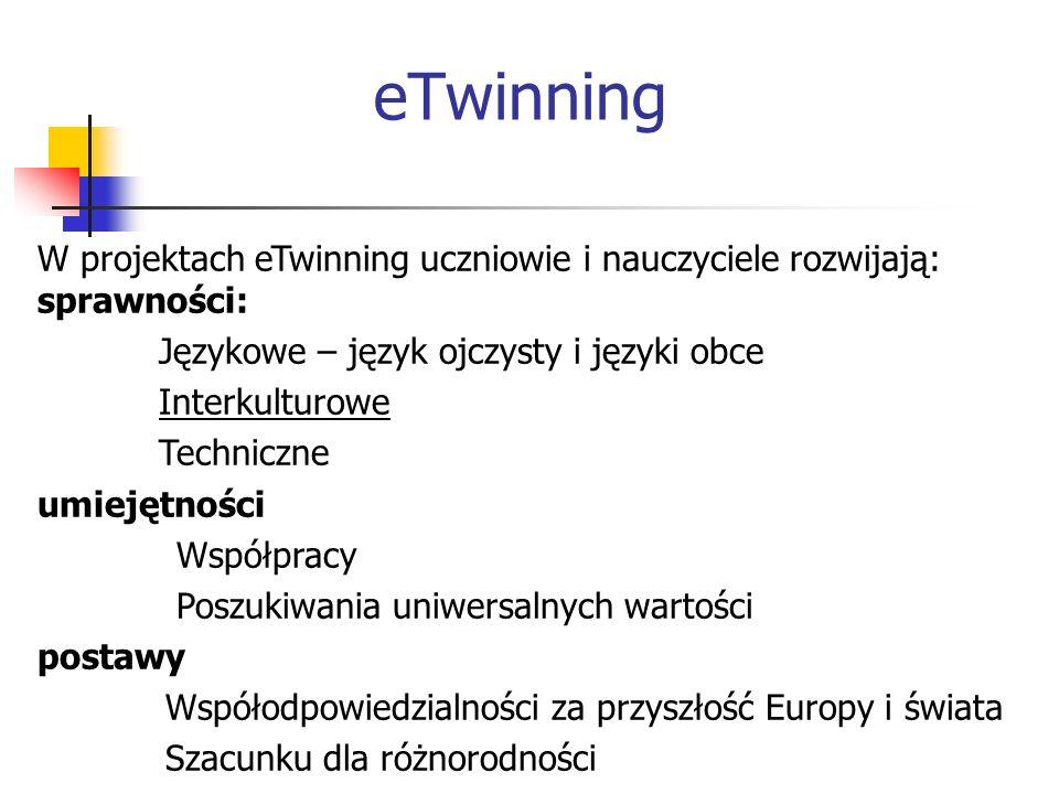 eTwinningW projektach eTwinning uczniowie i nauczyciele rozwijają: sprawności: Językowe – język ojczysty i języki obce.