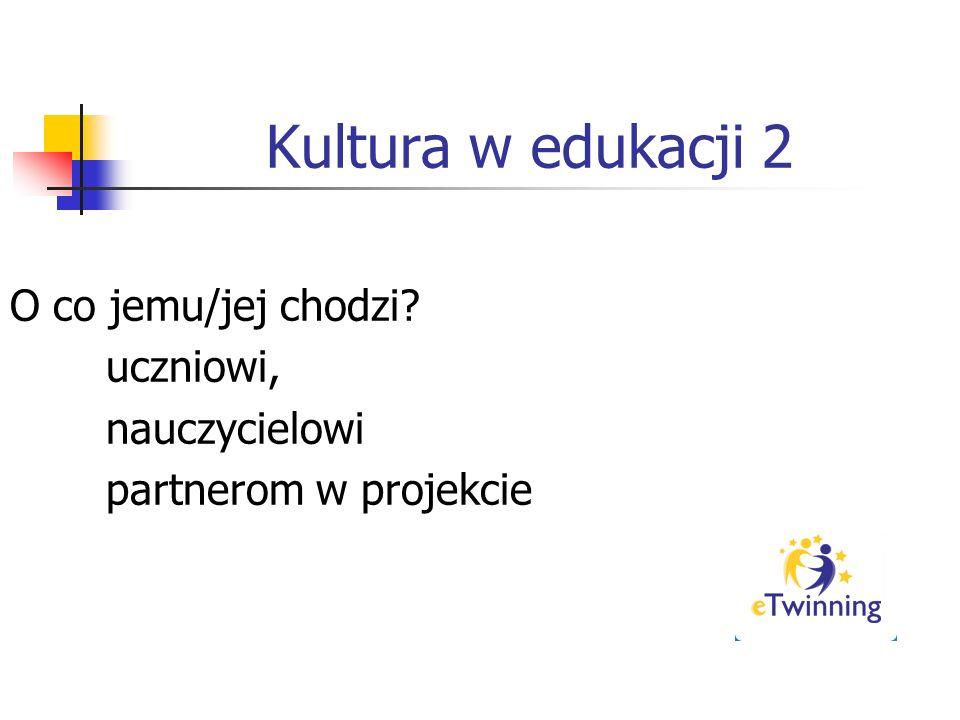 Kultura w edukacji 2 O co jemu/jej chodzi uczniowi, nauczycielowi partnerom w projekcie