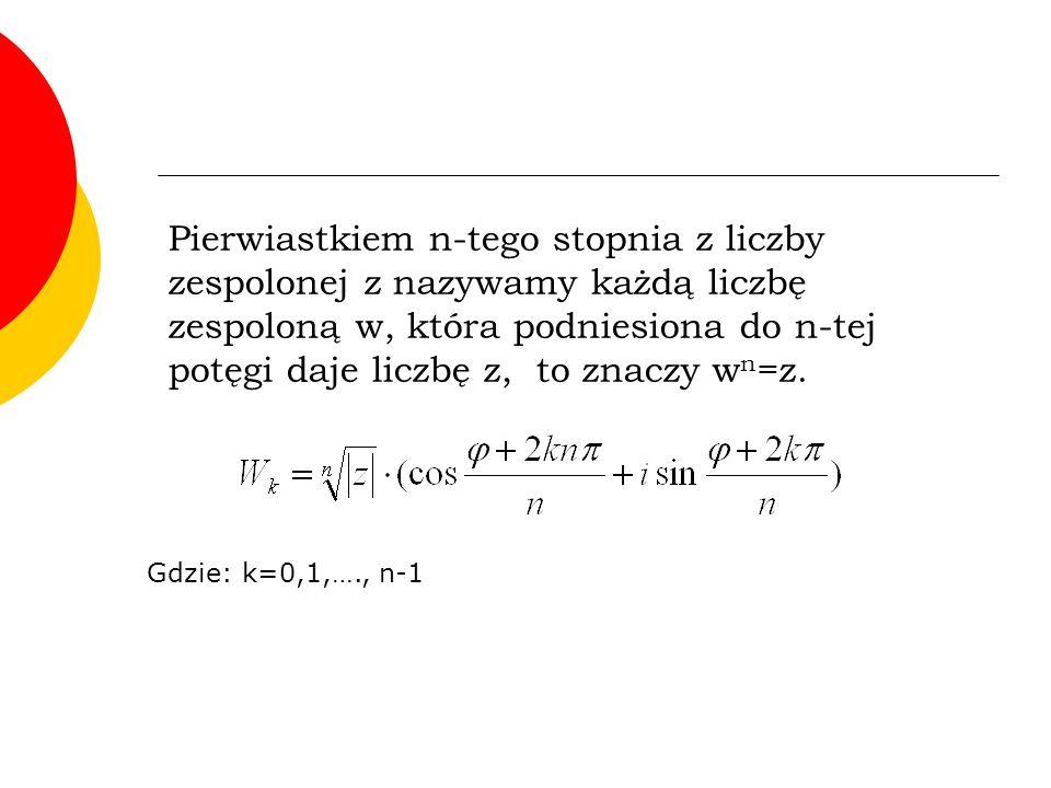 Pierwiastkiem n-tego stopnia z liczby zespolonej z nazywamy każdą liczbę zespoloną w, która podniesiona do n-tej potęgi daje liczbę z, to znaczy wn=z.