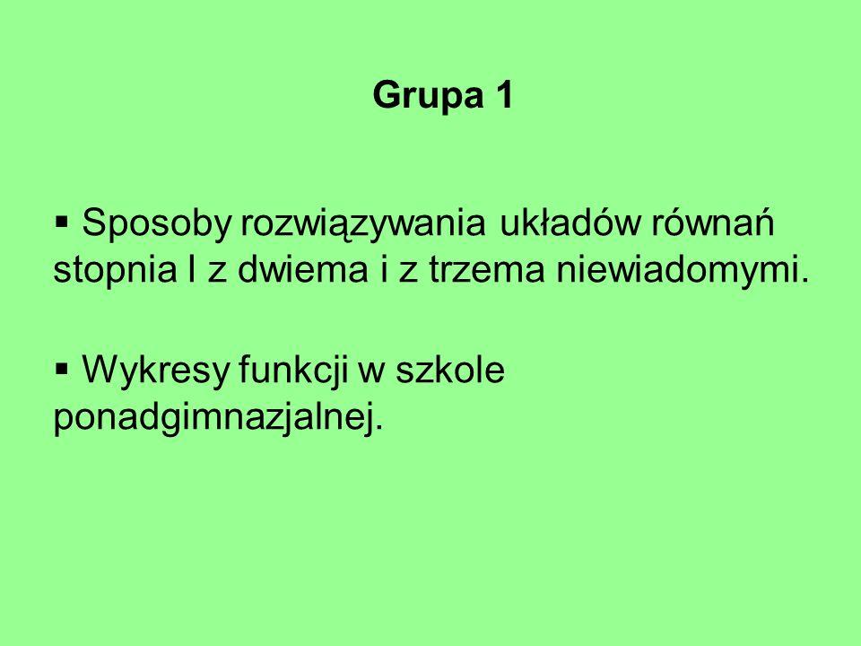 Grupa 1 Sposoby rozwiązywania układów równań stopnia I z dwiema i z trzema niewiadomymi.
