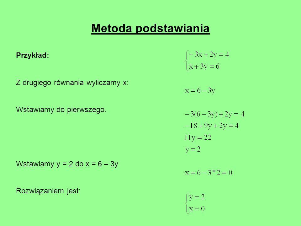 Metoda podstawiania Przykład: Z drugiego równania wyliczamy x: