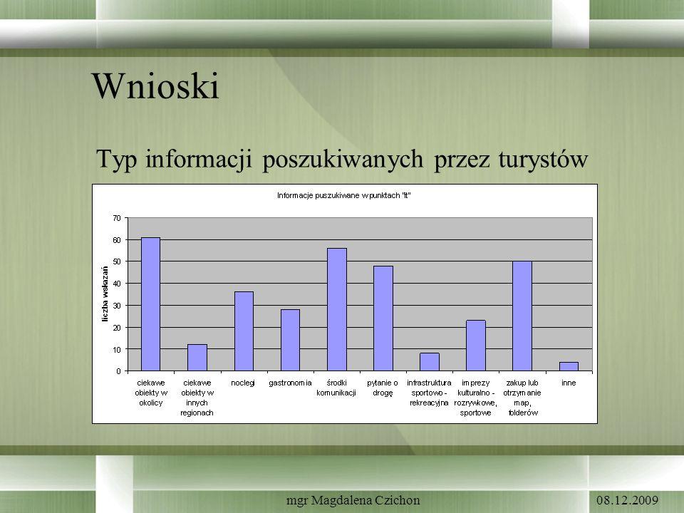Wnioski Typ informacji poszukiwanych przez turystów