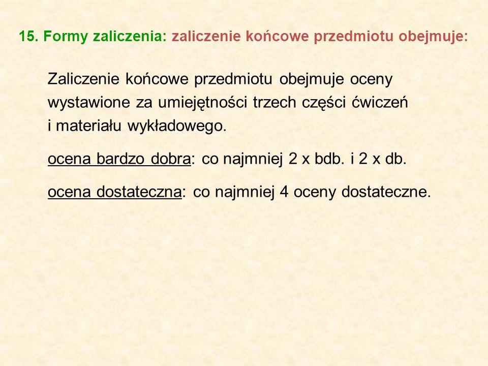 15. Formy zaliczenia: zaliczenie końcowe przedmiotu obejmuje: