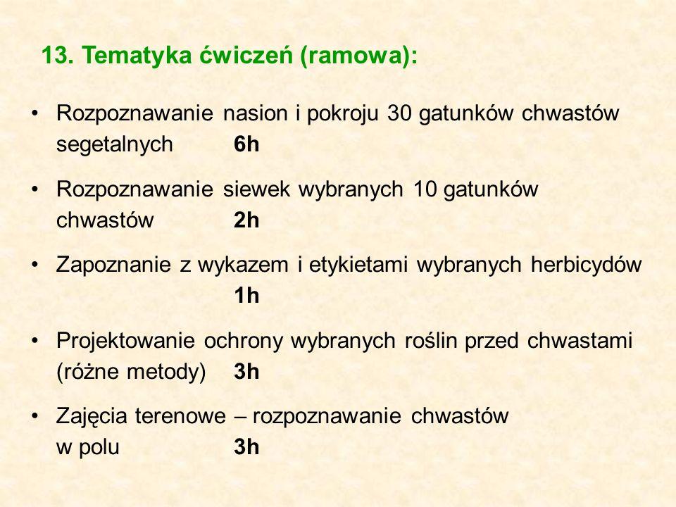 13. Tematyka ćwiczeń (ramowa):