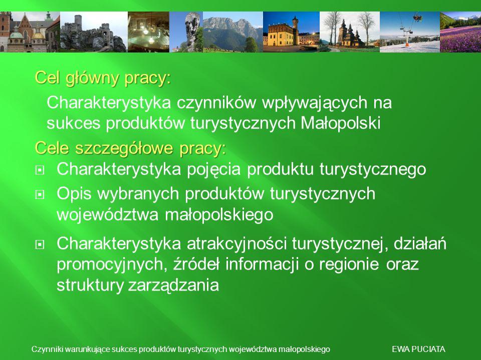 Cele szczegółowe pracy: Charakterystyka pojęcia produktu turystycznego