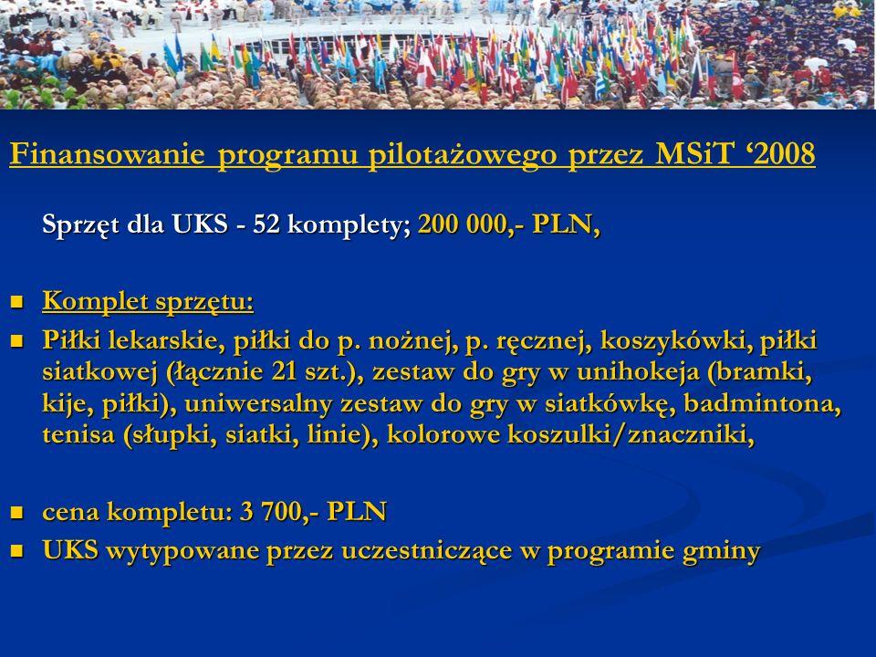 Finansowanie programu pilotażowego przez MSiT '2008
