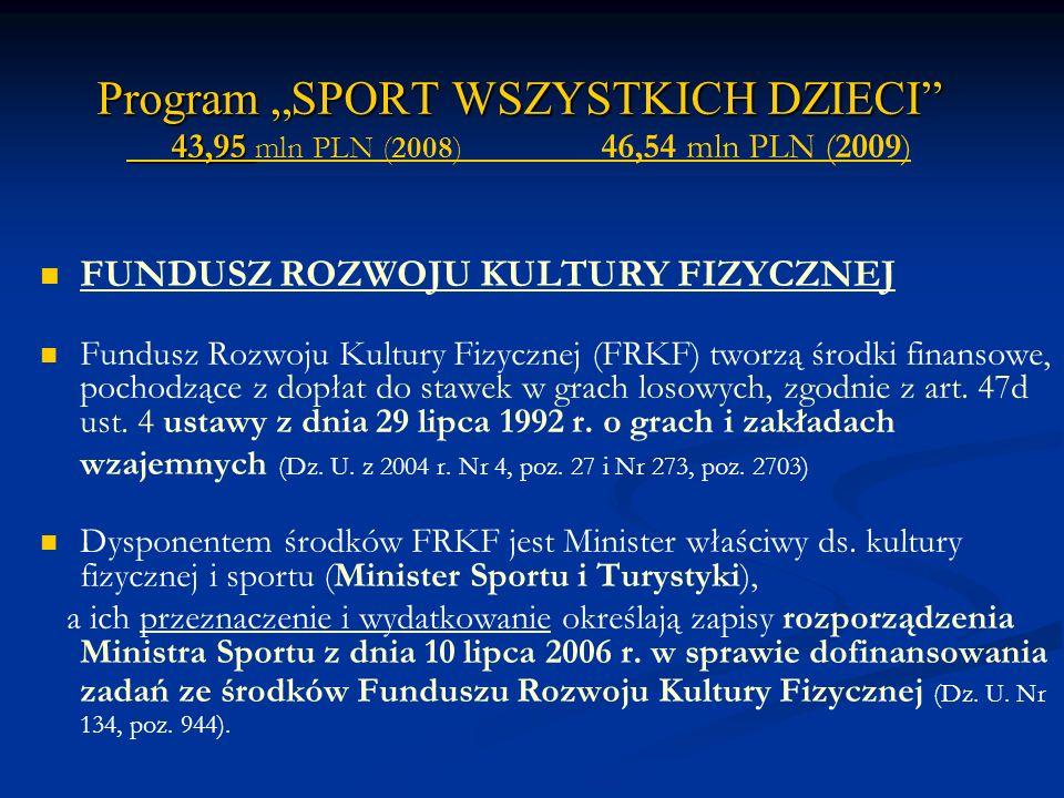 """Program """"SPORT WSZYSTKICH DZIECI 43,95 mln PLN (2008) 46,54 mln PLN (2009)"""