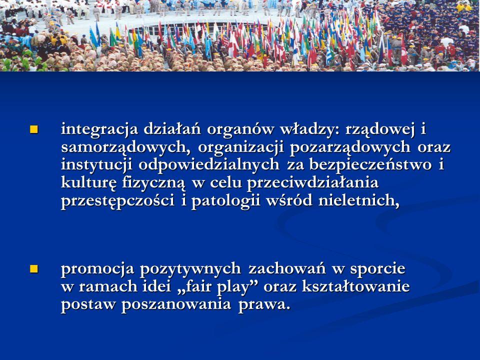 integracja działań organów władzy: rządowej i samorządowych, organizacji pozarządowych oraz instytucji odpowiedzialnych za bezpieczeństwo i kulturę fizyczną w celu przeciwdziałania przestępczości i patologii wśród nieletnich,