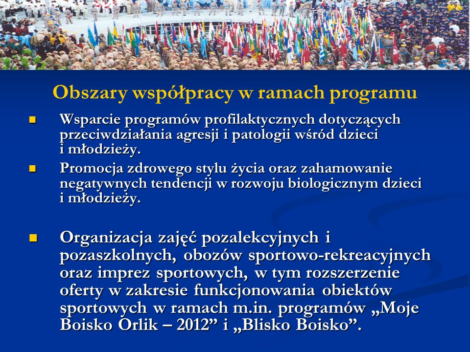 Obszary współpracy w ramach programu