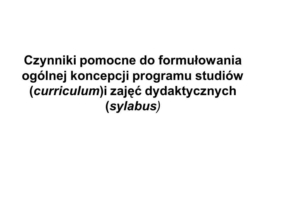 Czynniki pomocne do formułowania ogólnej koncepcji programu studiów