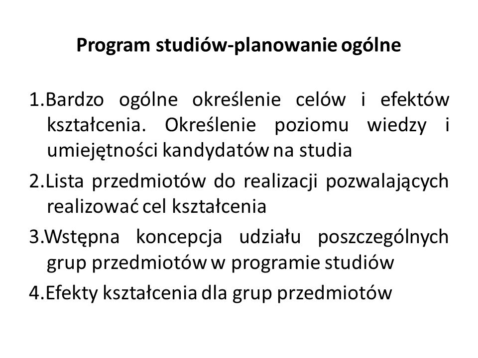 Program studiów-planowanie ogólne