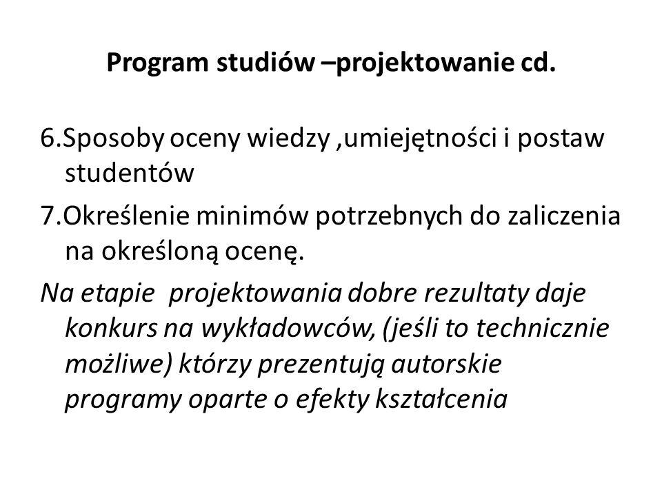 Program studiów –projektowanie cd.