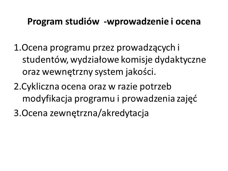 Program studiów -wprowadzenie i ocena
