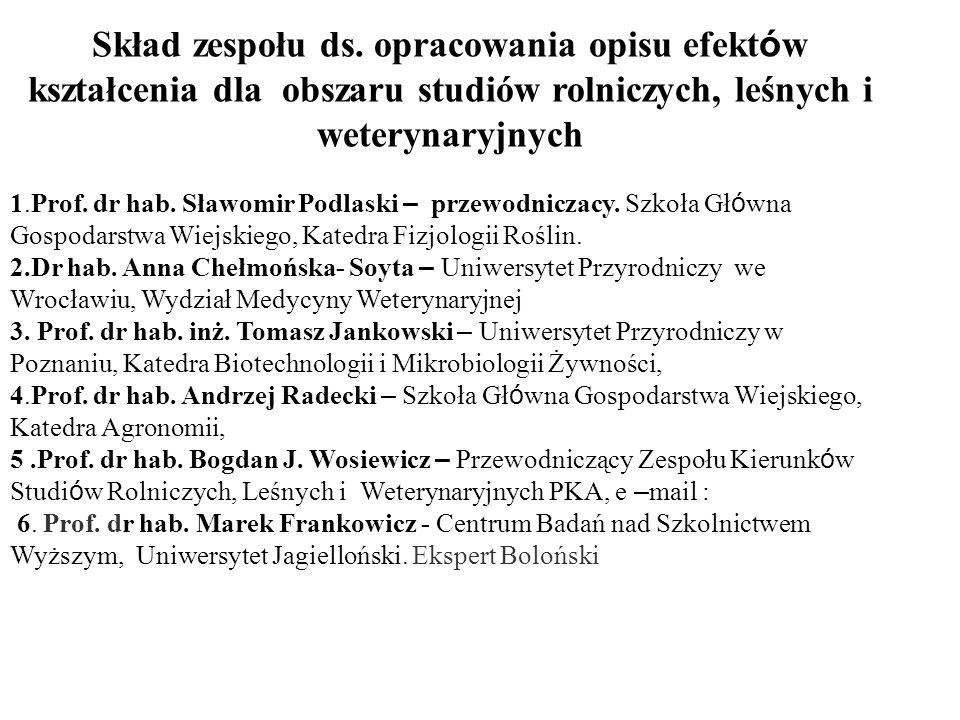 Skład zespołu ds. opracowania opisu efektów kształcenia dla obszaru studiów rolniczych, leśnych i weterynaryjnych