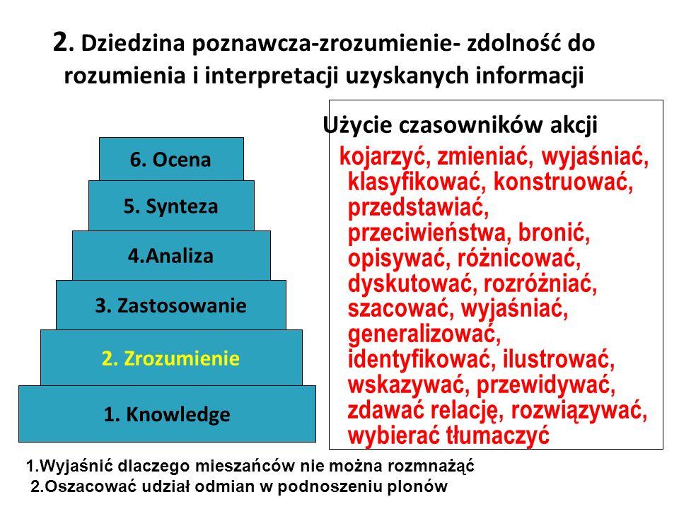 2. Dziedzina poznawcza-zrozumienie- zdolność do rozumienia i interpretacji uzyskanych informacji
