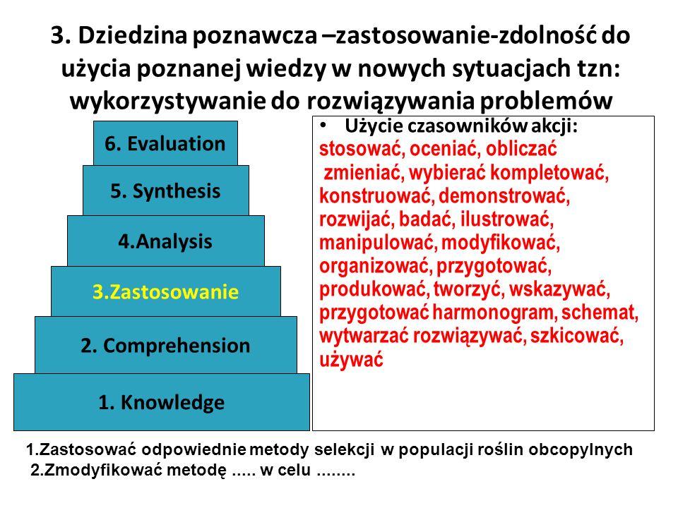 3. Dziedzina poznawcza –zastosowanie-zdolność do użycia poznanej wiedzy w nowych sytuacjach tzn: wykorzystywanie do rozwiązywania problemów