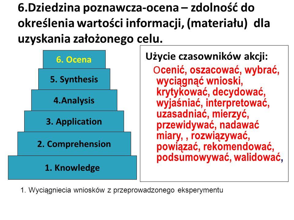 6.Dziedzina poznawcza-ocena – zdolność do określenia wartości informacji, (materiału) dla uzyskania założonego celu.