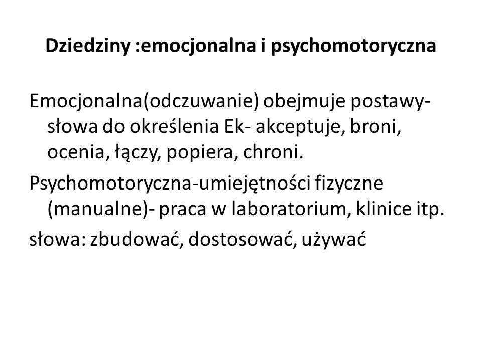 Dziedziny :emocjonalna i psychomotoryczna