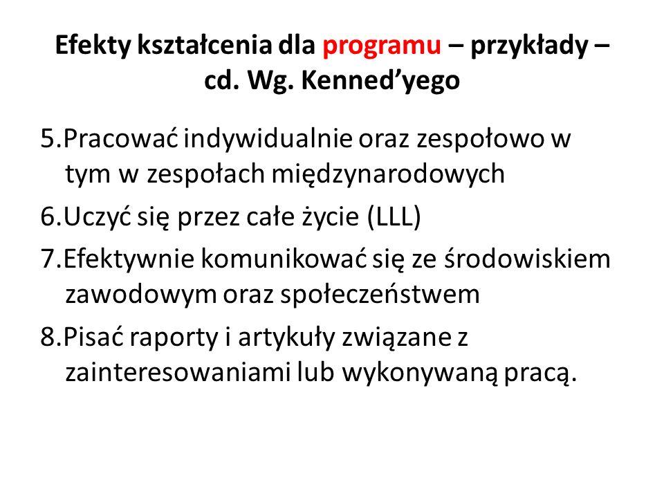 Efekty kształcenia dla programu – przykłady –cd. Wg. Kenned'yego