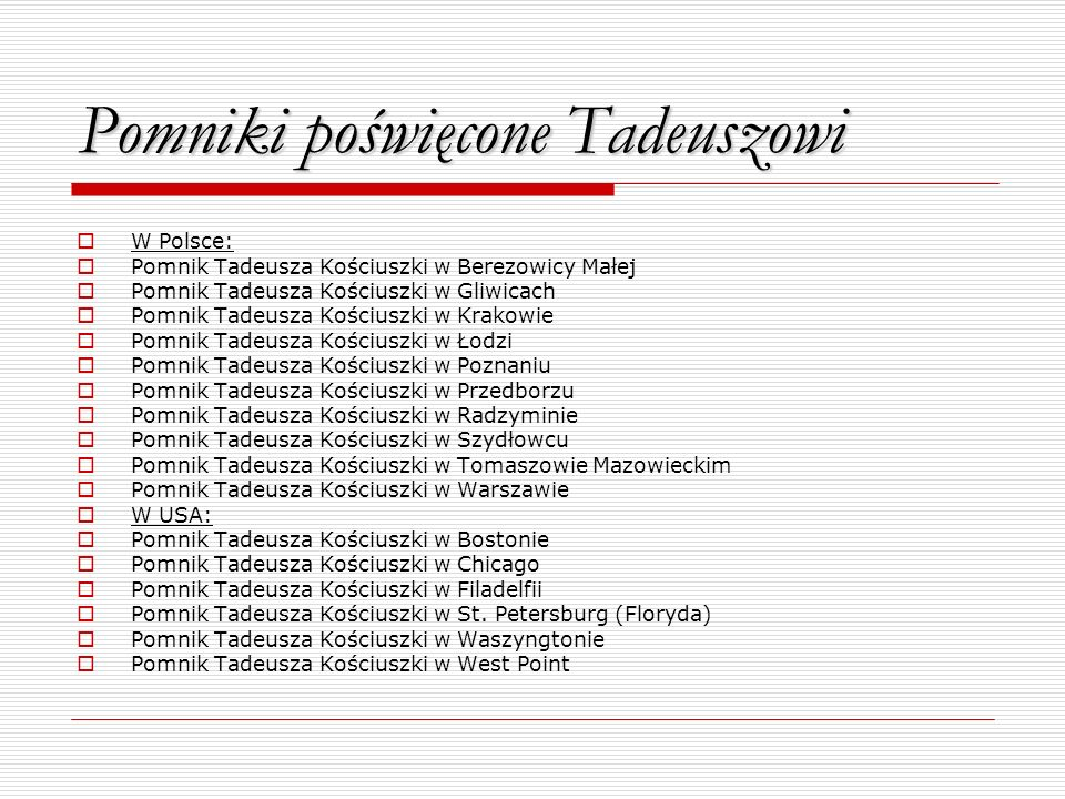 Pomniki poświęcone Tadeuszowi