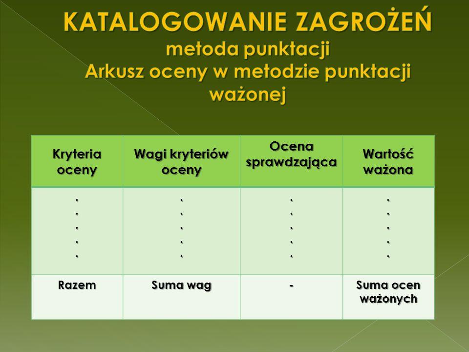KATALOGOWANIE ZAGROŻEŃ metoda punktacji Arkusz oceny w metodzie punktacji ważonej