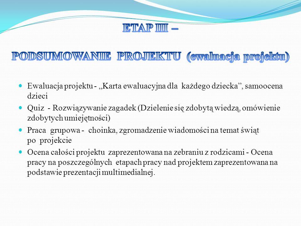 PODSUMOWANIE PROJEKTU (ewaluacja projektu)