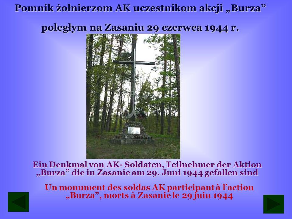 """Pomnik żołnierzom AK uczestnikom akcji """"Burza poległym na Zasaniu 29 czerwca 1944 r."""