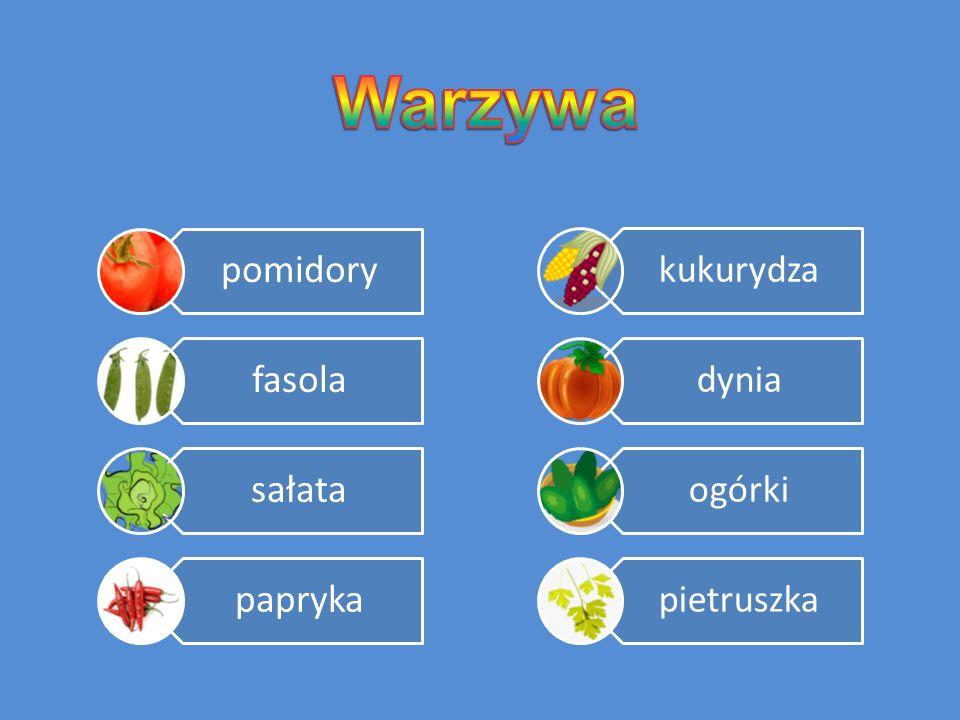 Warzywa pomidory fasola sałata papryka kukurydza dynia ogórki