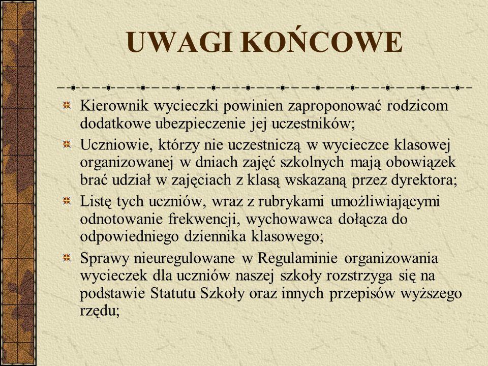 UWAGI KOŃCOWE Kierownik wycieczki powinien zaproponować rodzicom dodatkowe ubezpieczenie jej uczestników;