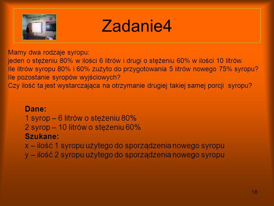 Zadanie4 Dane: 1 syrop – 6 litrów o stężeniu 80%