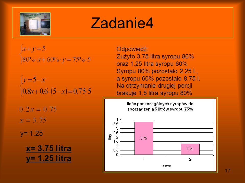 Zadanie4 x= 3.75 litra y= 1.25 litra y= 1.25 Odpowiedź: