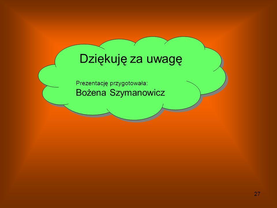 Dziękuję za uwagę Prezentację przygotowała: Bożena Szymanowicz