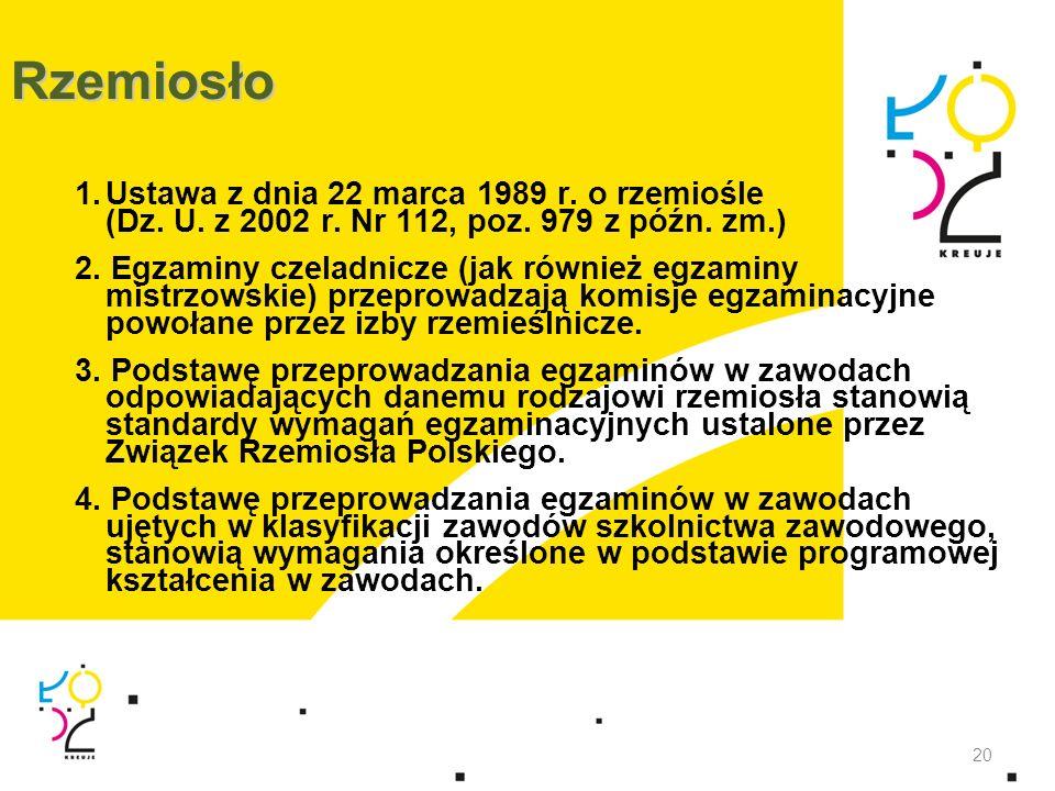 RzemiosłoUstawa z dnia 22 marca 1989 r. o rzemiośle (Dz. U. z 2002 r. Nr 112, poz. 979 z późn. zm.)