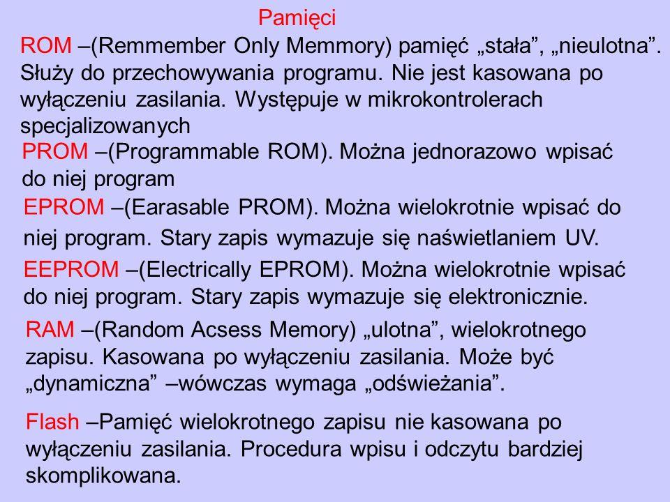 """Pamięci ROM –(Remmember Only Memmory) pamięć """"stała , """"nieulotna . Służy do przechowywania programu. Nie jest kasowana po."""