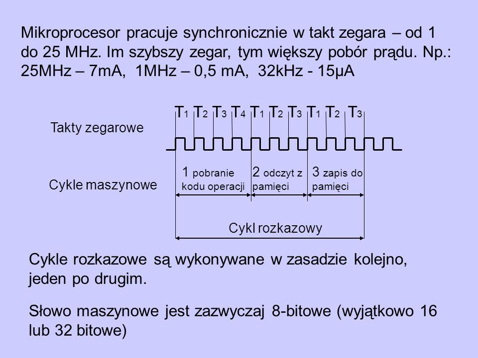 Cykle rozkazowe są wykonywane w zasadzie kolejno, jeden po drugim.