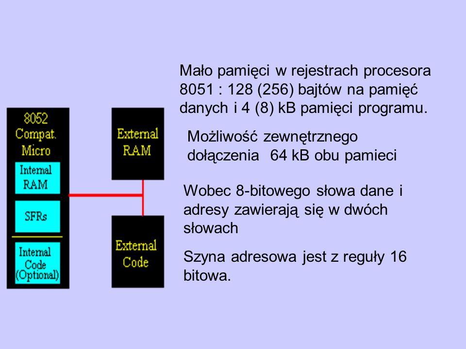 Mało pamięci w rejestrach procesora 8051 : 128 (256) bajtów na pamięć danych i 4 (8) kB pamięci programu.