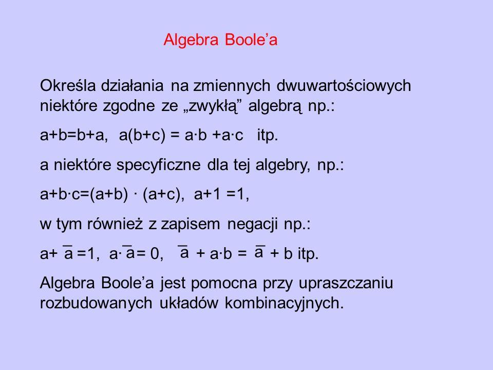 """Algebra Boole'a Określa działania na zmiennych dwuwartościowych niektóre zgodne ze """"zwykłą algebrą np.:"""