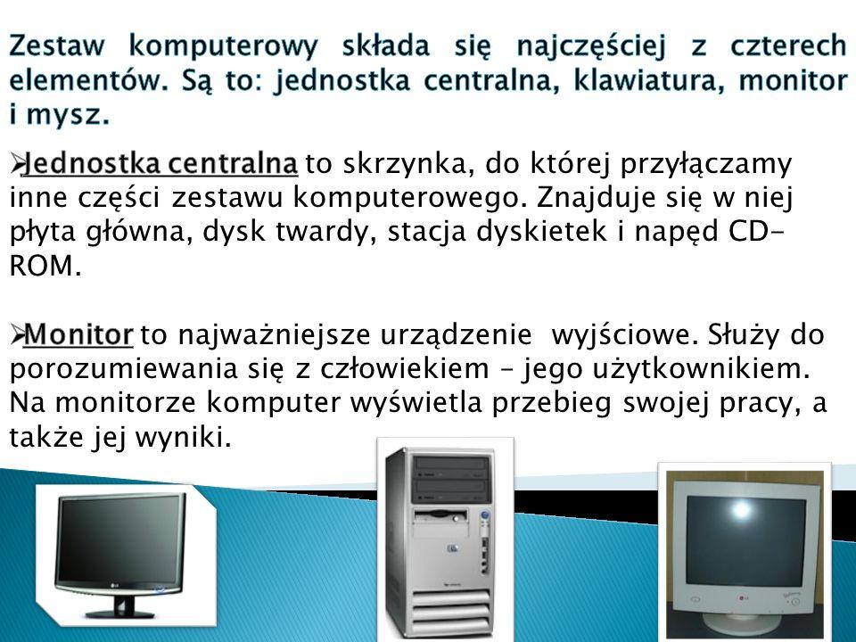 Zestaw komputerowy składa się najczęściej z czterech elementów