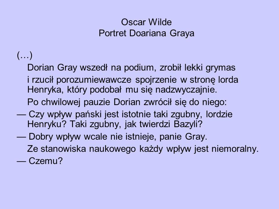 Oscar Wilde Portret Doariana Graya