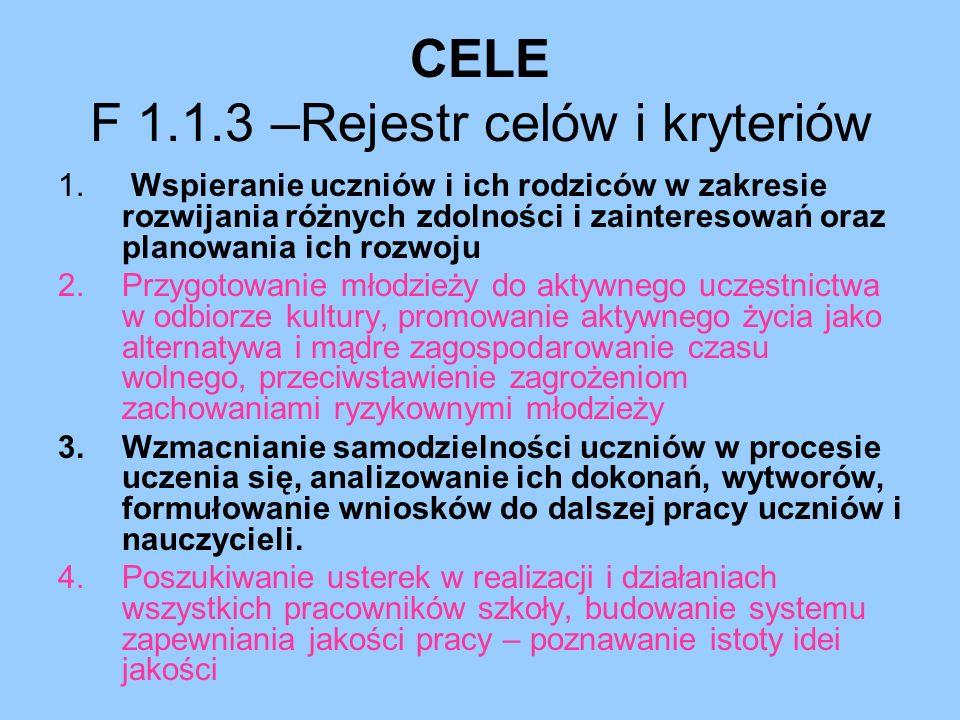 CELE F 1.1.3 –Rejestr celów i kryteriów