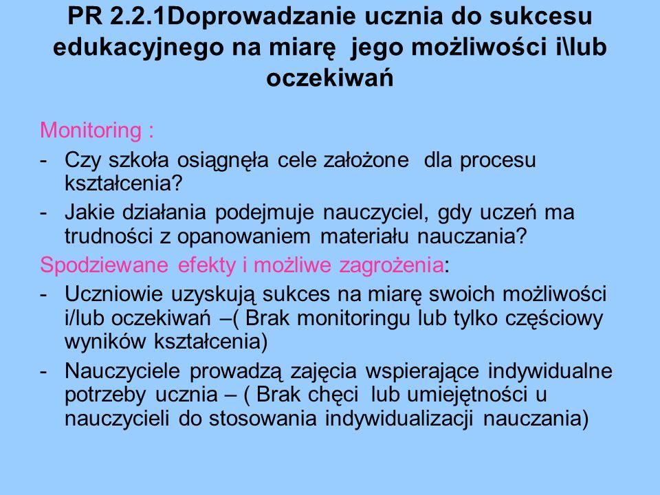 PR 2.2.1Doprowadzanie ucznia do sukcesu edukacyjnego na miarę jego możliwości i\lub oczekiwań
