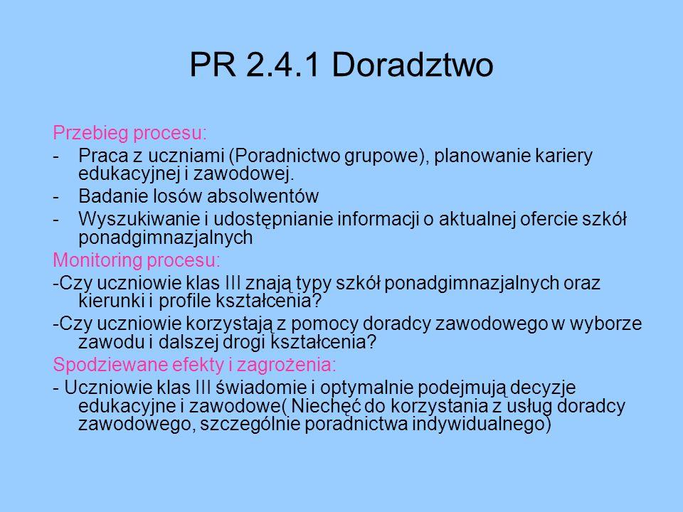 PR 2.4.1 Doradztwo Przebieg procesu:
