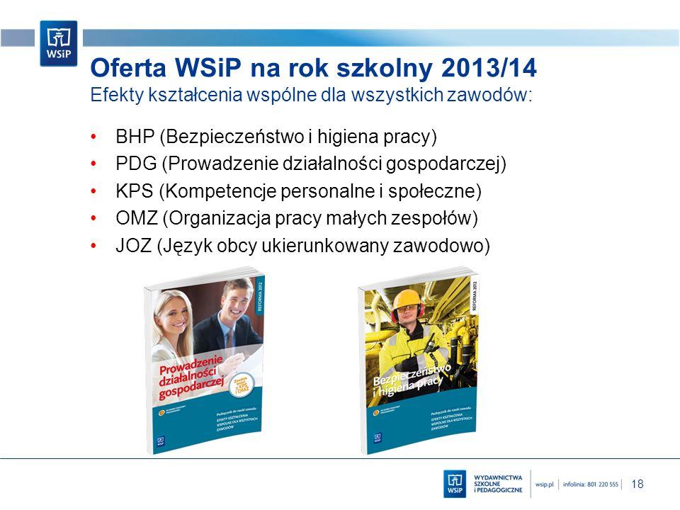 Oferta WSiP na rok szkolny 2013/14 Efekty kształcenia wspólne dla wszystkich zawodów: